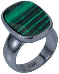 Nadia Minkoff Semi Precious Vertical Ring Malachite & Gunmetal - Green