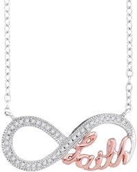 Cosanuova - Diamond Pink Infinity Necklace In 10k White Gold - Lyst