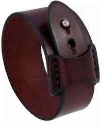 N'damus London Brown Wide Leather Bracelet