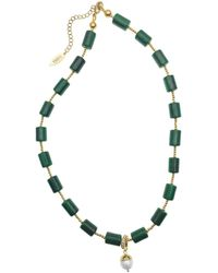 Farra Green Malachite Choker With Freshwater Pearl Detachable Pendant