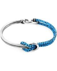 Anchor & Crew Blue Noir Tay Silver & Rope Half Bangle