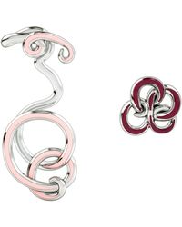 1986 - Wiggle Wiggle Twist & Hug Earrings Baby Pink & Rhodium - Lyst