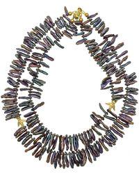 Farra Purple Freshwater Pearls Double Strands Necklace - Multicolor