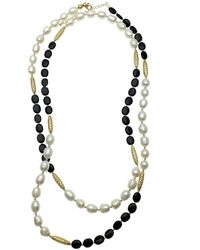 Farra Freshwater Pearls & Black Agate Multi-way Necklace - Multicolour