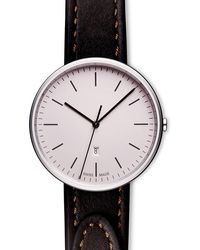 Uniform Wares Women's M38 Three-hand Date Watch In Polished Steel With Tapered Brown Nappa Leather Strap - Metallic