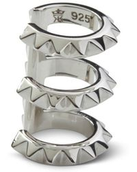 Kasun Croc Triple Ear Cuff Silver - Metallic