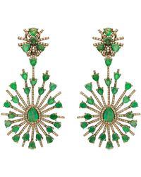 Kastur Jewels Statement Emerald & Diamond Earrings - Green