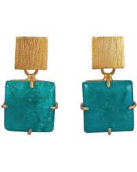 Magpie Rose - Green Square Solar Quartz Earrings - Lyst
