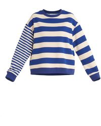 Paisie Contrast Stripe Sweatshirt - Blue