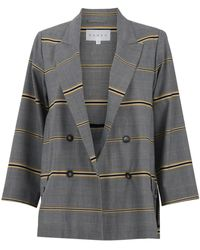 DANEH Plaid Double Breast Jacket With Yellow Stripe Detail - Grey