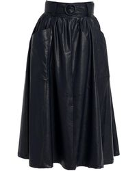 TOMCSANYI - Hunslet Midnight Blue Vegan Leather Midi Skirt - Lyst