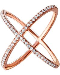 Cosanuova Sterling Silver X Crisscross Cz Ring In Rose Tone - Metallic
