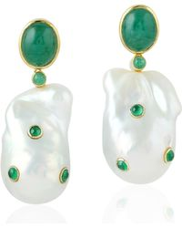 Artisan 18kt Yellow Gold Pearl Chinese Emerald Dangle Earring Women Jewelry - Green