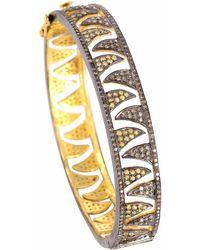 Meghna Jewels Claw Bangle Champagne Diamonds & Yellow Sapphire - Metallic