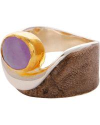 Carousel Jewels Amethyst Gold & Silver Pocket Ring - Metallic