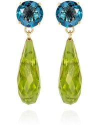 Augustine Jewels Teal Topaz & Peridot Gold Drop Earrings - Multicolour