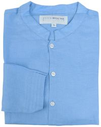 Pink House Mustique Men's Collarless Linen Shirt In French Blue
