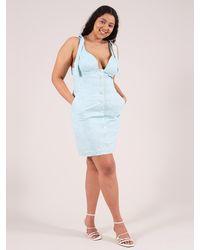 blonde gone rogue Linen Dress In Light Blue