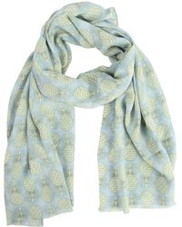 Pink House Mustique Lotty B Silk Crepe-de-chine Long Scarf Pineapple Repeat - Blue
