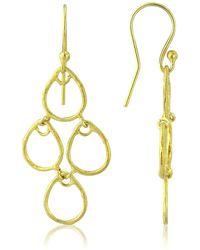 Auree Palermo Brushed Yellow Gold Art Deco Earrings - Metallic