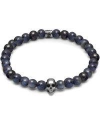 Northskull Dumortierite & Silver Atticus Skull Bracelet - Blue