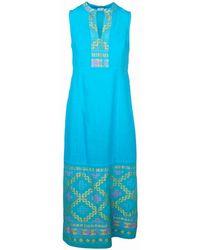 Haris Cotton Split Neck Sleeveless Maxi Linen Dress With Embroidered Panels - Blue