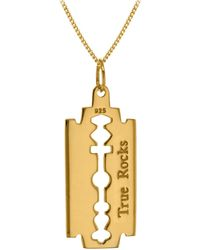 True Rocks Razor Blade Pendant 18 Carat Gold Plated - Metallic