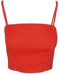 Haris Cotton Linen Blend Stretch Bust - Red
