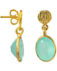 Juvi Designs - Antibes Drop Earrings With Aqua Chalcedony - Lyst