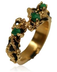 Karolina Bik Jewellery Out Of The Sea Ring With Raw Emeralds - Metallic