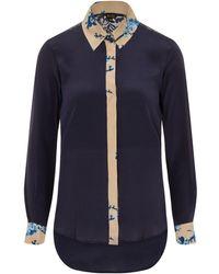 Sophie Cameron Davies Midnight Blue Printed Classic Silk Shirt