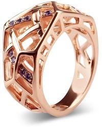 Bellus Domina Amethyst Rose Gold Hexagon Ring - Metallic