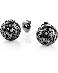 Sonal Bhaskaran - Svar Ruthenium Stud Earrings Clear Cz - Lyst