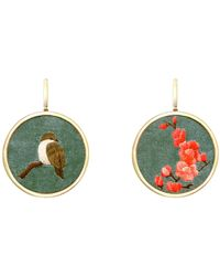 J.Y. GAO Sparrow & Blossom Embroidery Earrings Gold - Green