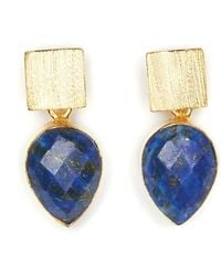 Magpie Rose Lapis Lazuli Earrings - Blue
