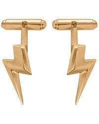 Edge Only 3d Flat Top Lightning Bolt Cufflinks In Gold - Metallic