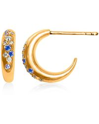 Hargreaves Stockholm 18ct Gold, Diamond & Blue Sapphire Pavé Moon Earrings - Metallic