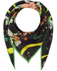 Klements Silk Scarf In Watchtower Print - Green