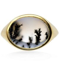No 13 - Snow Agate Horizontal Signet Ring Gold - Lyst
