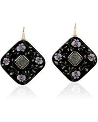 Artisan 18k Gold & Bakelite With Flower Picture Enamel And Diamonds Earrings - Black