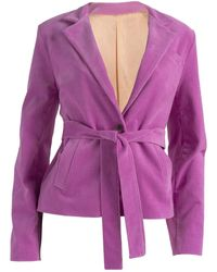 relax baby be cool Ribbed Corduroy Blazer With Pockets - Purple