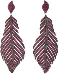 Artisan Pave Ruby 18k Gold 925 Silver Feather Dangle Earrings Handmade Jewellery - Metallic