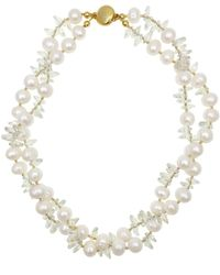 Farra Freshwater Pearl & Crystal Double Strands Short Necklace - White