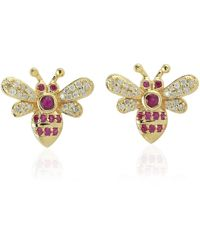Artisan 18k Gold Bee Earring With Pave Diamond & Ruby