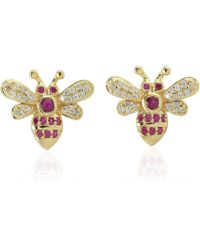 Artisan 18k Gold Bee Earring With Pave Diamond & Ruby - Metallic