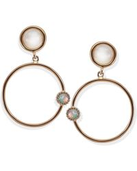 Vintouch Italy - Satellite Rose Gold Vermeil Moonstone Hoops - Lyst