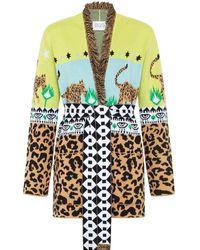 Hayley Menzies Leopardess Short Cardigan In Yellow & Blue
