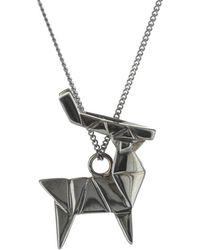 Origami Jewellery Deer Necklace Gun Metal - Black