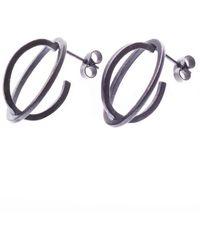 Nancy Rose Jewellery Oxidised Ellipse Silver Stud Earrings - Metallic