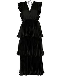 True Decadence Black Satin Pleated Tiered Midaxi Dress